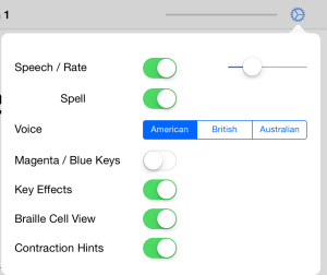 Braille Tutor In-App Settings