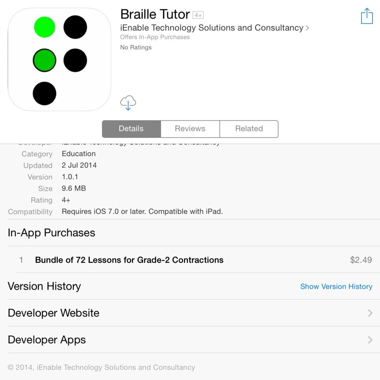 Braille Tutor on the Australian AppStore